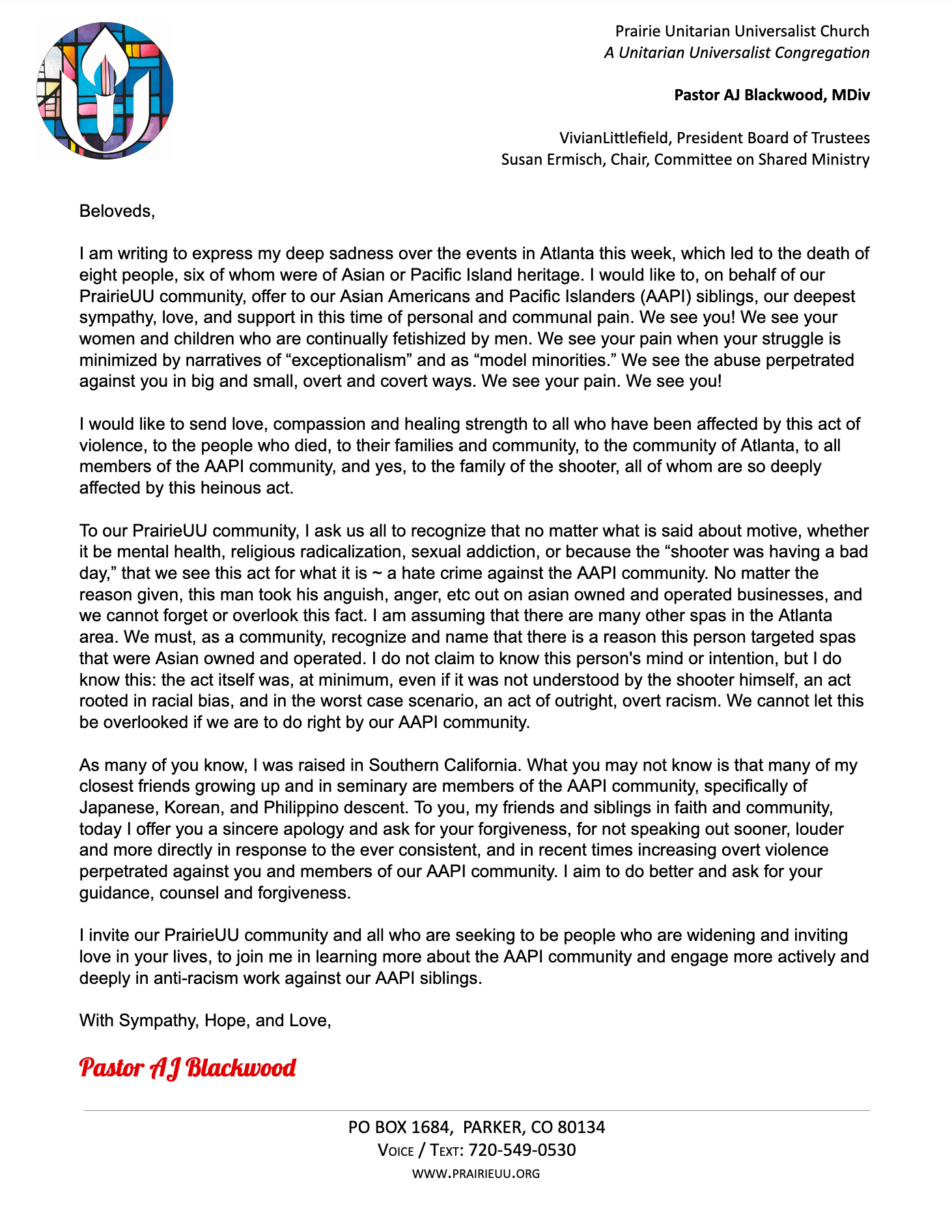 Message from Pastor AJ - Atlanta